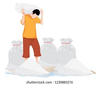 agriculturist cartoon shape with salt vector design