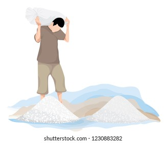 agriculturist cartoon shape with salt vector design