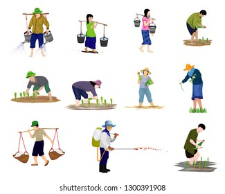 agriculturist cartoon shape vector design