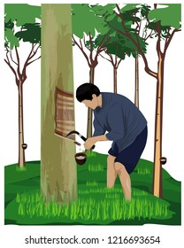 agriculturist scratch on rubber tree vector design