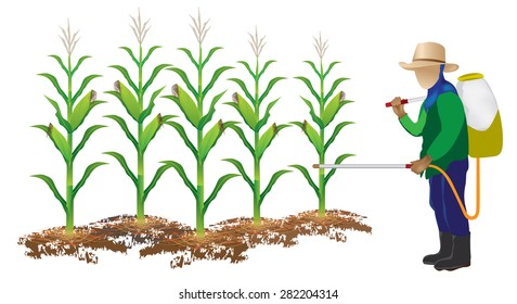 agriculturist spraying pesticides vector design