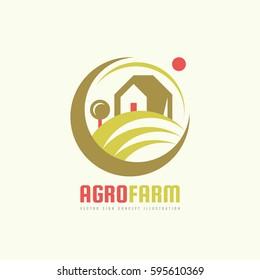 Agro Farm - vector logo template concept. Organic eco product sign. Plantation illustration. Ecology nature emblem. Design element.