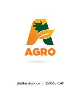 Agro logo design. Letter A. Leaf and cattle concept