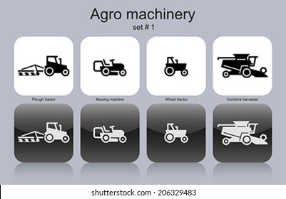 Agro machinery in set of monochrome icons. Editable vector illustration.