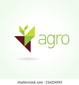 Agro symbol emblem sign. Leaf green