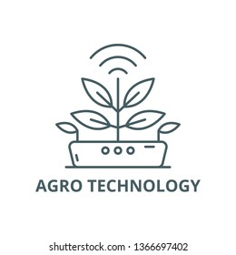 Agro technology line icon, vector. Agro technology outline sign, concept symbol, flat illustration