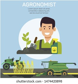 Agronomist Occupation Flat Vector Banner Template. Searching for Farming Specialist, Rural Area Worker. Agricultural Industry Expert Duties and Responsibilities Poster Layout with Text Space