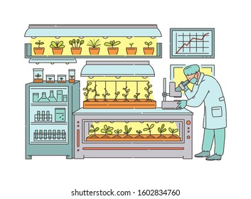 Agronomist scientist cartoon character working in greenhouse laboratory, sketch vector illustration isolated on background. Agricultural technologies for food growing.