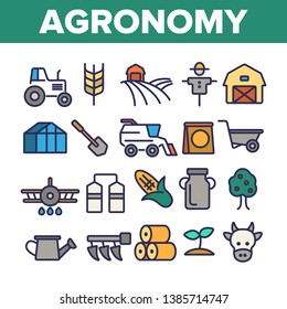 Agronomy Industry Vector Thin Line Icons Set. Agronomy Machinery Linear Illustrations. Growing Crops, Fruits Equipment. Farming, Meat, Dairy Products Manufacturing. Storage Facilities Contour Symbols