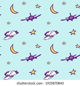 Agua seamless pattern with moon, stars, plane and clouds. Design for wallpaper and wrapping, fabric and textile. Vector illustration.