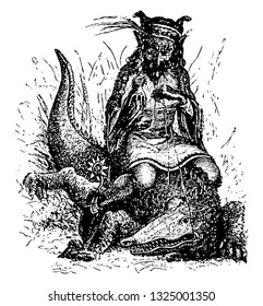 Aguares was Grand Duke of eastern part of hell and demon leader who shows himself straddling a crocodile and sparrow hawk in hand , vintage engraved line art illustration. Infernal Dictionary 1863.
