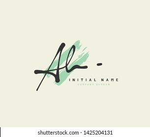 A AH Beauty vector initial logo, handwriting logo of initial wedding, fashion, jewerly, signature, boutique, floral and botanical with creative template for any company or business.