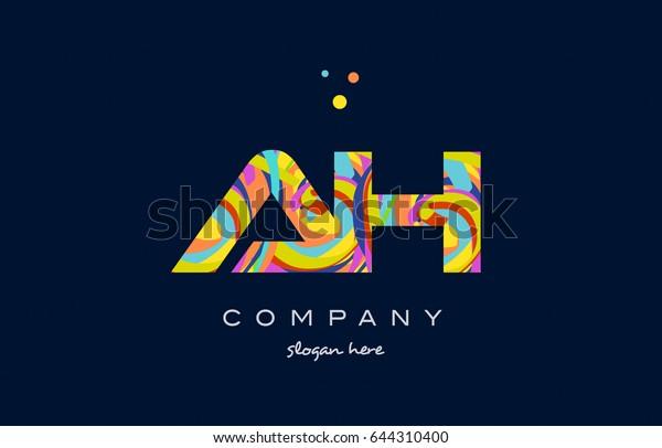 Ah H Alphabet Letter Logo Colors Stock Vector (Royalty Free