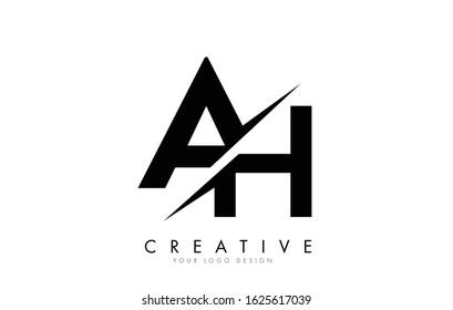 AH A H Letter Logo Design with a Creative Cut. Creative logo design..