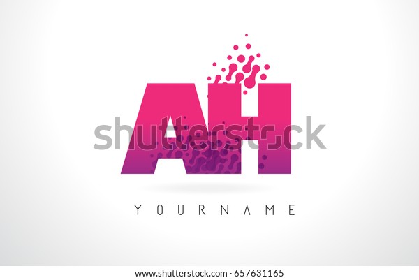 Ah H Letter Logo Pink Letters Stock Vector (Royalty Free