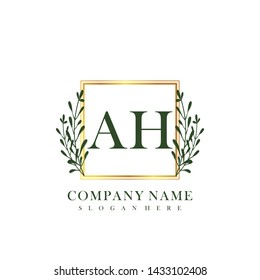 AH Initial beauty floral logo template