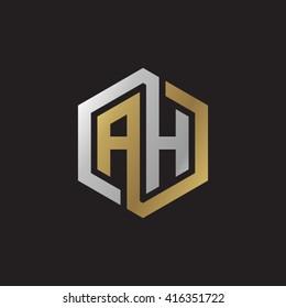AH initial letters loop linked hexagon elegant logo golden silver black background