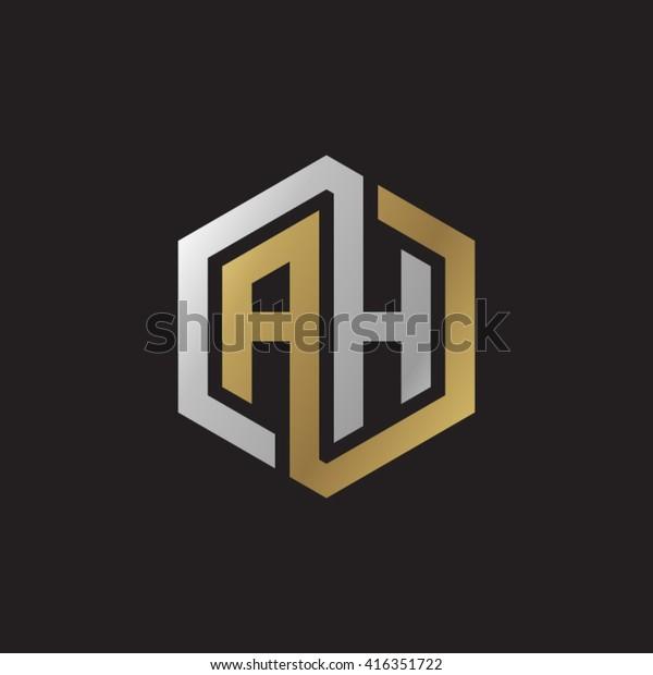 Ah Initial Letters Loop Linked Hexagon Stock Vector