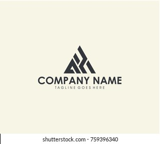 AH initial triangle logo design