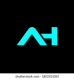 AH letter icon design on black background. Creative letter AH/A H logo design. AH initials Logo design
