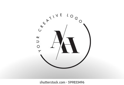 AH Letter Logo Design with Creative Intersected and Cutted Serif Font.