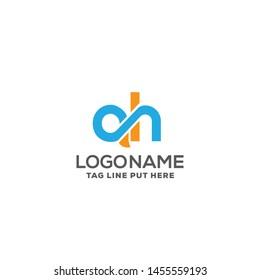 ah or qh logo design template