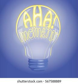Aha! moment neon lettering in lightbulb. Bright idea, creativity vector illustration. Inspiration, imagination concept