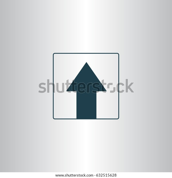 Ahead Only, One way traffic sign, Drive Straight vector icon