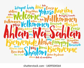 Ahlan Wa Sahlan (Welcome in Arabic) word cloud in different languages, conceptual background