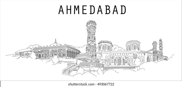 AHMADABAD city vector hand drawing sketch style illustration