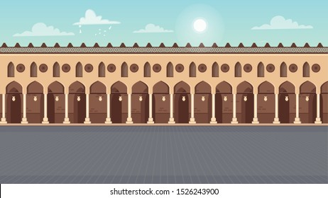 Ahmed bin Tulun Mosque Square  illustration  - vector