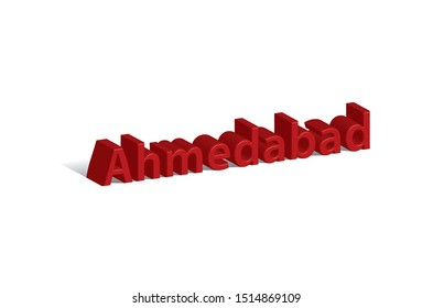 Ahmedabad city 3D typo - vector