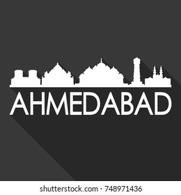 Ahmedabad Flat Icon Skyline Silhouette Design City Vector Art Famous Buildings
