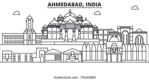 Ahmedabad, India architecture line skyline illustration. Linear vector cityscape with famous landmarks, city sights, design icons. Landscape wtih editable strokes