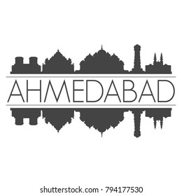 Ahmedabad India Asia Skyline Vector Art Mirror Silhouette Emblematic Buildings