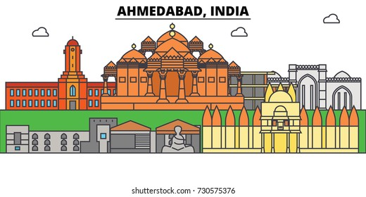 Ahmedabad, India, asian. City skyline, architecture, buildings, streets, silhouette, landscape, panorama, landmarks. Editable strokes. Flat design line vector illustration concept. Isolated icons set