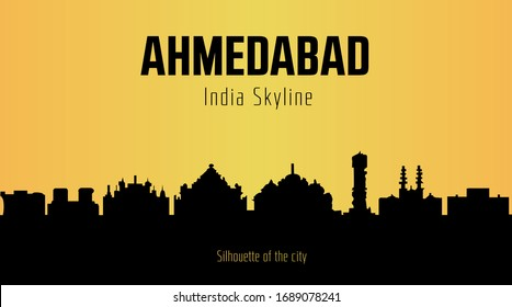 Ahmedabad India city silhouette and yellow background. Ahmedabad India Skyline.