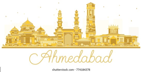 Ahmedabad India City skyline golden silhouette. Vector illustration. Simple flat concept for tourism presentation, banner, placard or web site. Ahmedabad Cityscape with landmarks.