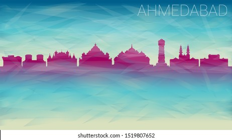 Ahmedabad India City Skyline vector Silhouette. Broken Glass Abstract Geometric Dynamic Textured. Banner Background. Colorful Shape Composition.