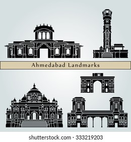 Ahmedabad landmarks and monuments isolated on blue background in editable vector file