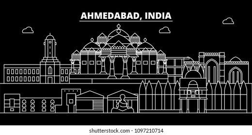 Ahmedabad silhouette skyline. India - Ahmedabad vector city, indian linear architecture, buildings. Ahmedabad travel illustration, outline landmarks. India flat icons, indian line banner