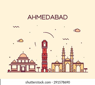 Ahmedabad skyline, detailed silhouette. Trendy vector illustration, linear style.