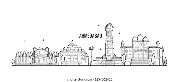 Ahmedabad skyline, Gujarati, India. This illustration represents the city with its most notable buildings. Vector is fully editable, every object is holistic and movable
