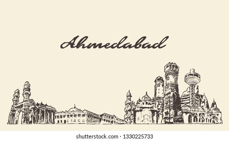 Ahmedabad skyline, India, hand drawn vector illustration, sketch