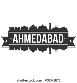 Ahmedabad Skyline Silhouette City Vector Design Art