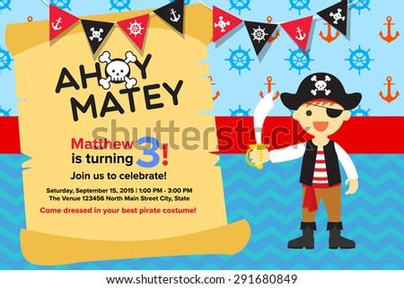 Ahoy Matey Pirate Boy Birthday Invitation Vector De Stock Libre De