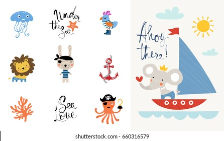 Ahoy there. Good for kid's or baby's wall art, fashion tee shirt prints and greeting cards.