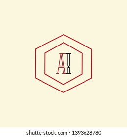 AI aii A1 letter logo design, Best line art logo design in black and red color with background