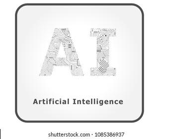 ai artificial intelligence with circuit pattern vector illustration
