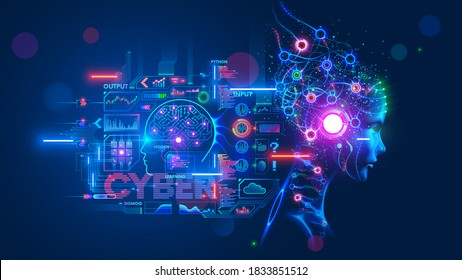 AI or artificial intelligence with the computer brain as a neural network. Programming and Deep machine learning of neural network. Robot Head with cybernetically mind. Abstract Interface elements.